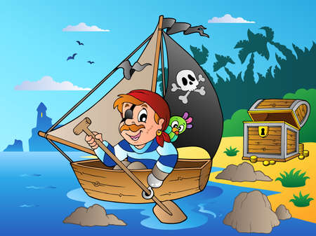 Coast with young cartoon pirate 1 - vector illustration. mural