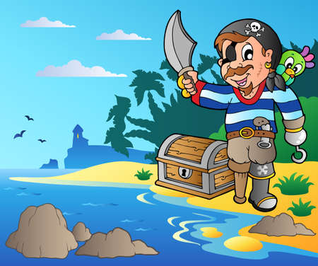 Coast with young cartoon pirate 2 - vector illustration. mural