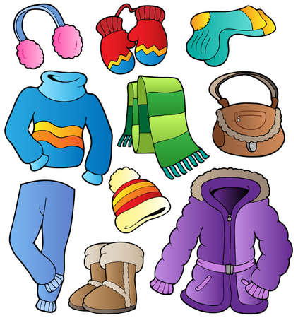 Winter apparel collection 1 - vector illustration.