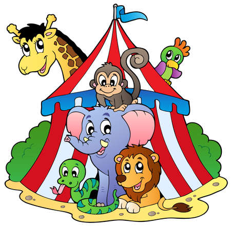 Photo for Various animals in circus tent - vector illustration. - Royalty Free Image