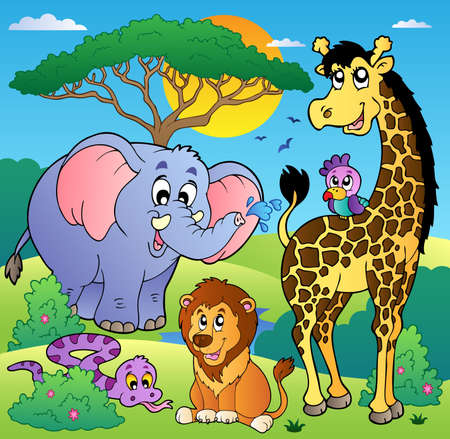 Foto de Savannah scenery with animals 2 - vector illustration. - Imagen libre de derechos