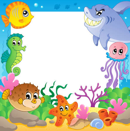 Photo for Frame with underwater animals 2 - vector illustration  - Royalty Free Image
