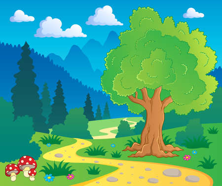 Illustration pour Cartoon forest landscape 8 - vector illustration  - image libre de droit