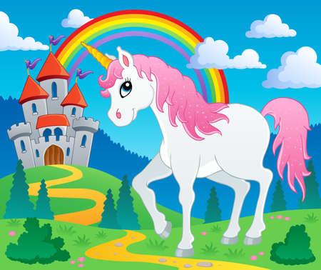 Illustration pour Fairy tale unicorn theme image 2 - vector illustration  - image libre de droit