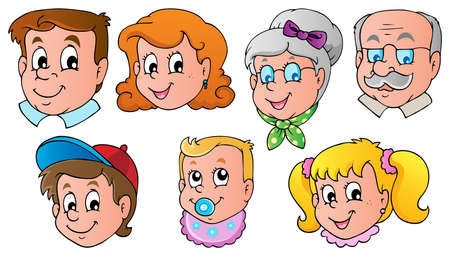 Illustration for Family faces theme image 1  - Royalty Free Image