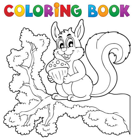Coloring book squirrel theme 1 - vector illustration