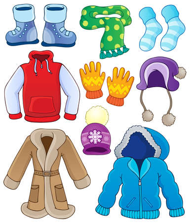 Illustration for Winter clothes collection  - Royalty Free Image