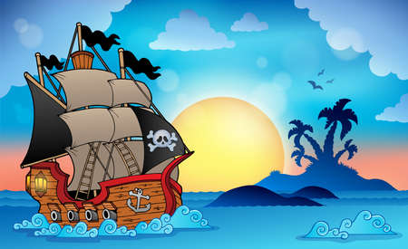 Illustration for Pirate ship near small island - Royalty Free Image