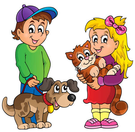 Illustration for Children with pets theme   - Royalty Free Image