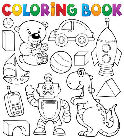 Illustration pour Coloring book with toys thematic   - image libre de droit