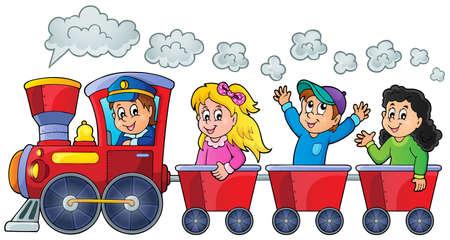 Illustration pour Train with happy kids  - image libre de droit