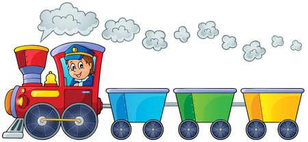 Illustration pour Train with three empty wagons   - image libre de droit