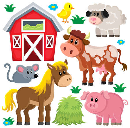 Illustration pour Farm animals set 2 - eps10 vector illustration. - image libre de droit