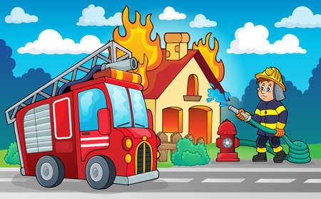Illustration for Firefighter theme image  - Royalty Free Image