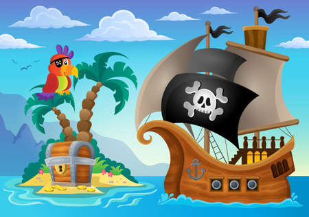 Illustration for Small pirate island theme 2 - eps10 vector illustration. - Royalty Free Image