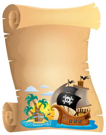 Illustration pour Pirate scroll theme image 2 - eps10 vector illustration. - image libre de droit