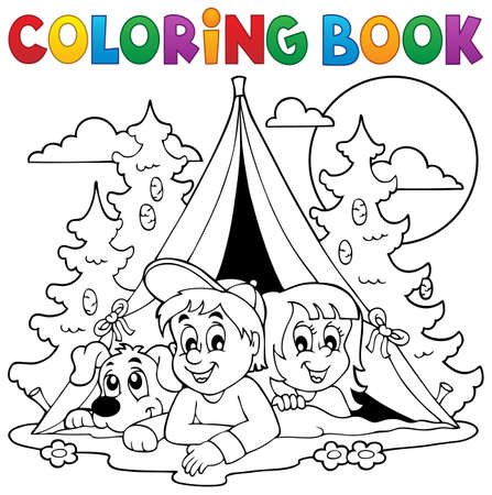 Illustration pour Coloring book kids camping in forest - eps10 vector illustration. - image libre de droit