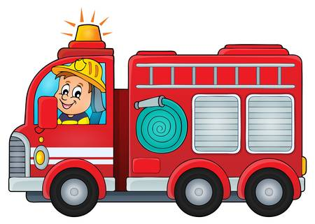 Illustration for Fire truck theme image  vector illustration. - Royalty Free Image