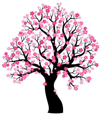 Illustration for Silhouette of blooming tree theme 1 - eps10 vector illustration. - Royalty Free Image