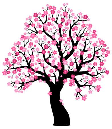 Ilustración de Silhouette of blooming tree theme 1 - eps10 vector illustration. - Imagen libre de derechos