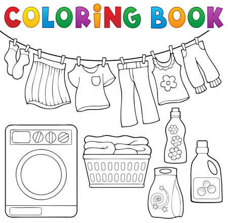 Illustration for Coloring book laundry theme - Royalty Free Image