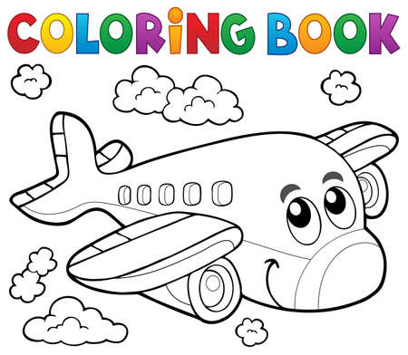 Photo for Coloring book airplane theme - Royalty Free Image