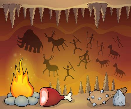 Ilustración de Prehistoric cave thematic - Imagen libre de derechos
