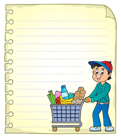 Illustration pour Notepad page with man shopping - eps10 vector illustration. - image libre de droit