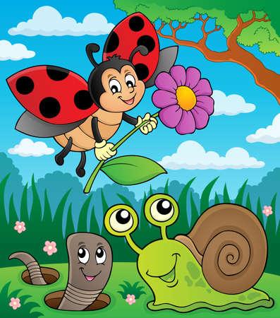 Illustration pour Spring animals and insect theme image - image libre de droit
