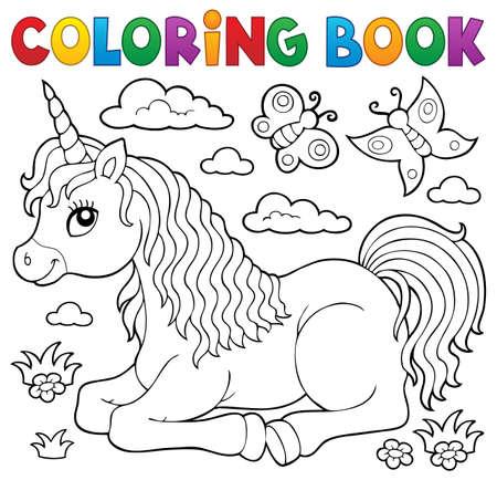 Ilustración de Coloring book lying unicorn  vector illustration. - Imagen libre de derechos