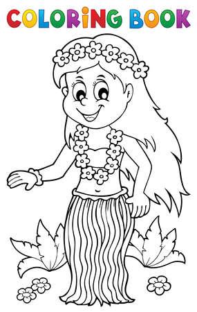 Illustration pour Coloring book Hawaiian theme dancer 1 - eps10 vector illustration. - image libre de droit