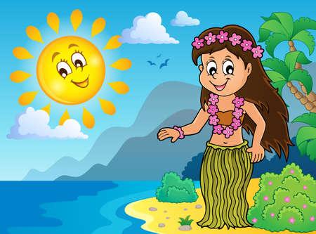 Illustration pour Hawaiian theme dancer image - image libre de droit