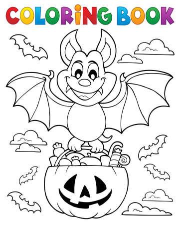 Illustration pour Coloring book Halloween bat theme 1 - eps10 vector illustration. - image libre de droit