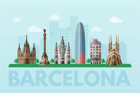 Ilustración de Barcelona sightseeing tour blue flat vector banner - Imagen libre de derechos