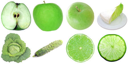 Green food collage set of many vegetarian items isolated over white including apple lettuce cabbage cucumber and lime