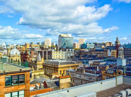 Photo pour High dynamic range HDR Aerial view of the city of Glasgow, Scotland - image libre de droit