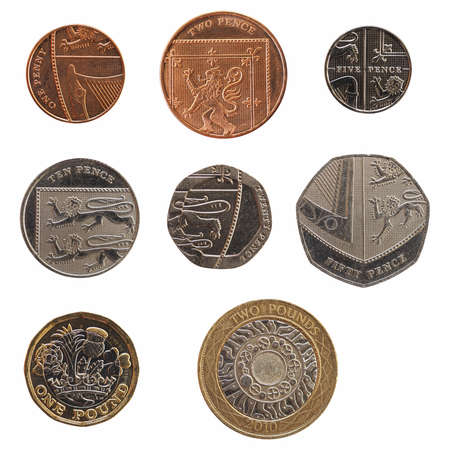 Foto de Full range of British coins money (GBP), currency of United Kingdom, from 1 Penny to 2 Pounds isolated over white background - Imagen libre de derechos