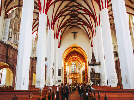 Photo for LEIPZIG, GERMANY - JUNE 12, 2014: People visiting the Thomaskirche St Thomas Church where Johann Sebastian Bach worked as a Kapellmeister and the current location of his remains - Royalty Free Image