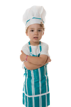 Photo for little chef with crossed arms standing on a isolated white background - Royalty Free Image