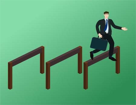 Ilustración de Businessman running and jump over obstacles , success concept - Imagen libre de derechos