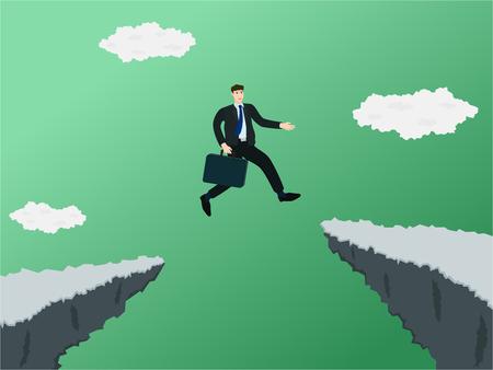 Ilustración de Businessman jump through gap of cliff , success concept - Imagen libre de derechos