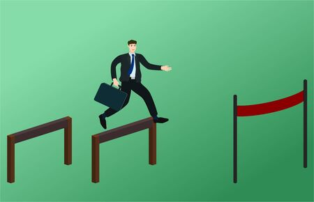 Ilustración de Businessman running and jump over obstacles to finish line , success goal concept - Imagen libre de derechos