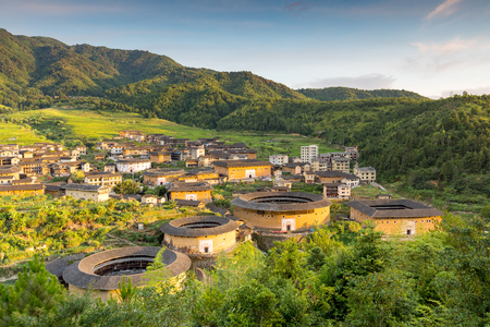 Photo pour Aerial view of Chuxi Tulou cluster in fujian, china - image libre de droit