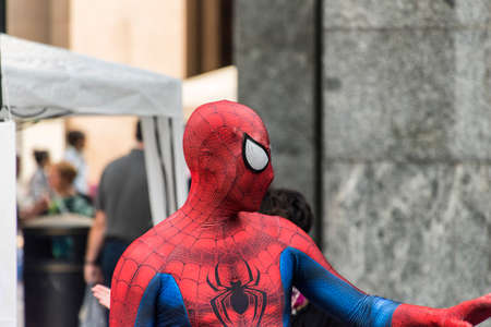 Varese (Lombardy, Italy): man disguised as Spiderman in the Monte Grappa square