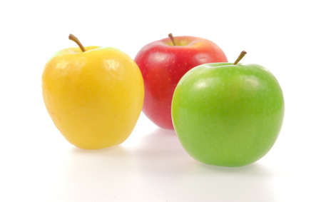 Photo for Yellow green and red apples isolated on white background - Royalty Free Image