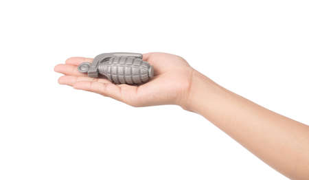 Photo pour hand holding grenade isolated on white background - image libre de droit
