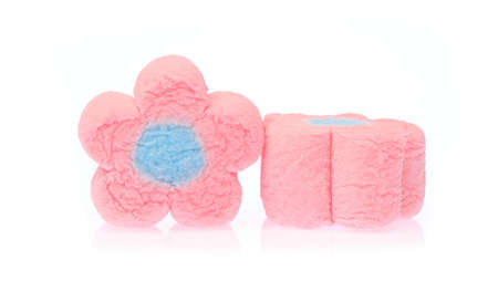 Photo for Close Up of sweet marshmallow in the shape of flower isolated on white background - Royalty Free Image