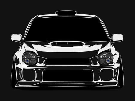 Ilustración de cool car vector illlustration silhouette isolated in flat black background - Imagen libre de derechos