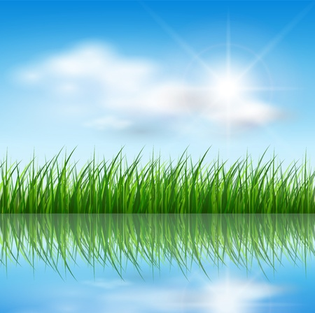 Illustration for Nature background, green grass over blue sky, vector. - Royalty Free Image