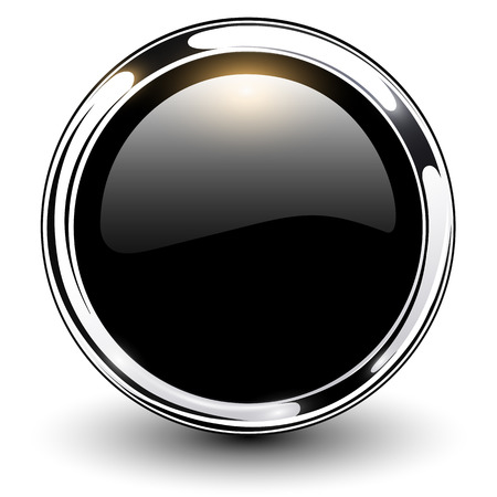 Illustration pour Black shiny button with metallic elements, vector design  - image libre de droit